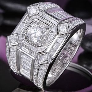 BUSINESS MENS RING 2.25 CT CZ SS LUXURY RING